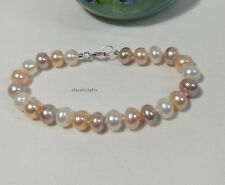 Genuine solid silver 8-9mm Oblate  freshwater pearls bracelet L19cm 3colors