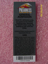 CALIFORNIA CHROME  - 2014 OFFICIAL PREAKNESS 139 ADMISSION TICKET - MINT