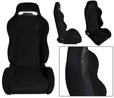 NEW 1 PAIR BLACK CLOTH & BLUE STITCHING ADJUSTABLE RACING SEATS CHEVROLET ***