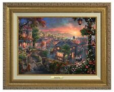 LADY AND THE TRAMP - Disney Thomas Kinkade Studios – Canvas Classic(Gold Frame)