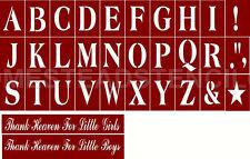 "~Item #2716~Primitive Stencil ~Alphabet Cap Set ~4""~& 2 overlays Thank Heaven"