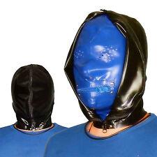 100% Handmade Latex Rubber catsuit hood blue latex cosplay latex costume #02033