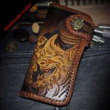 prajna carved biker wallet bifold Long biker wallet for men deep brown leather