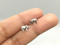 Real 925 Sterling Silver Tiny Elephant Stud Earrings Animal Cartilage Helix Post