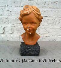 B2017122 - Salvatore Melani - Buste en plâtre sur socle en pierre - 1902-1934