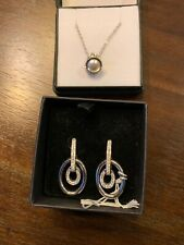 Swarovski Crystal Silver Drop/Dangle Earrings and Necklace New in Box