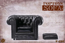 POP TOYS 1/6 Black Figure Doll Scene Accessory British Single Sofa Toy Model F29