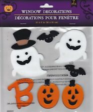 Halloween Gel Window Cling Stickers 7 Count ~ Ghosts Bats Boo Pumpkin