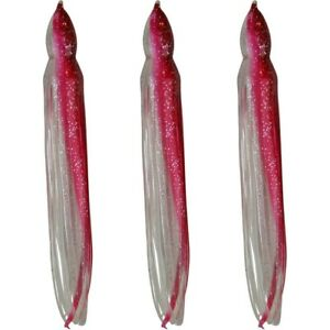 """5.5"""" to 8.5"""" Octopus Hoochie Squid Skirt - Red Shad - 3 Pack"""
