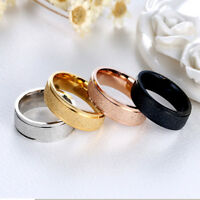 Fashion Titanium Steel Ring Men Women Wedding Engagement Rings Rose Gold Sz6-12
