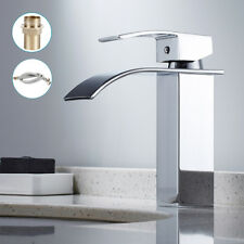 Modern Basin Sink Mixer Taps Square Chrome Small Mono Luxury Bathroom Cloakroom