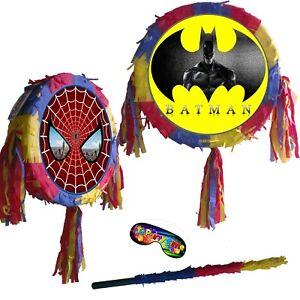 Piñata Batman Spiderman super hero theme fun Smash Party Stick birthday UK