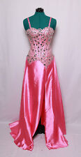 JASZ COUTURE BUBBLE GUM PINK MIRROR GEMS BEADED TRAIN PROM FORMAL GOWN DRESS 0