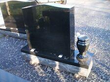 Cemetery  headstone tombstone grave marker- Highest quality black granite w/vase