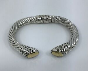 Sterling Silver and 18K Gold 8mm Hinged Cable Cuff Bracelet