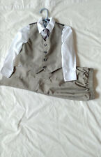 Boys Sz 4 Light Taupe Muted Plaid Vest Suit: Matching Vest n Pants, Shirt, Tie