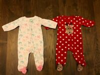 LOT of 2 CARTERS BABY GIRLS 9 month Fleece Sleepers Footed Pajamas CHRISTMAS D20