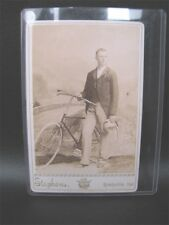 Antique Cabinet Card Photo Man And His Bicycle Rushville Indiana H.S. Stephens