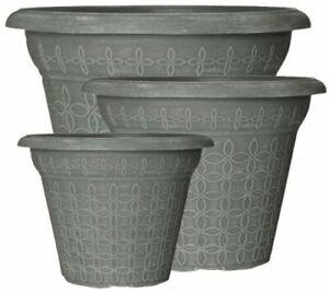 Decorative Plant Pots Outdoor Garden Round Plastic Planter Various Sizes/Colours
