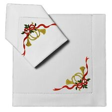 4pc Dinner Napkins White Linen Cloth Christmas Horn Embroidery Hemstitch 20 X 20