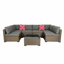 New listing 7Pcs Outdoor Furniture Set Patio Rattan Wicker Sofa Sectional Couch Cushioned