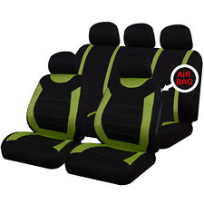 Universal Car Carnaby Black & Green Seat Covers Washable Airbag Safe 8 Piece Set