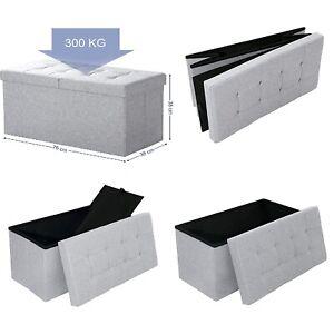 Ottoman Storage Stool Bench Foldable Chest Toy Shoe Box Hallway Bedroom Half Lid