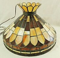 "Beautiful Antique/Vtg 21"" Brown Beige Stained Slag Glass 3 Light Chandelier 5964"