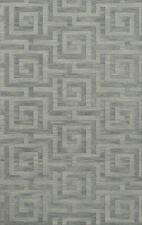 Blue Transitional Hand Hooked Squares Curls Blocks Area Rug Geometric DV13