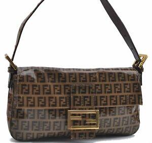 Authentic FENDI Zucchino Mamma Baguette Shoulder Hand Bag PVC Brown E1853