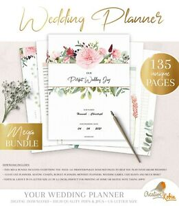Wedding Planner & Wedding Budget Checklists | Printable Planner | 135 Page