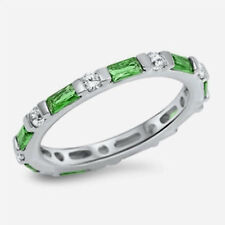 USA Seller Baguette Band Ring Sterling Silver 925 Best Jewelry Emerald Size 8
