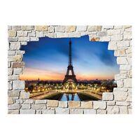 Stickers mural trompe l'oeil pierre déco Paris 8501