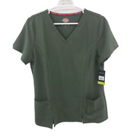 Dickies V Neck Short Sleeve 4-Way Stretch T shirts Green Size Large