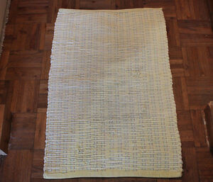 Vintage Accent Hand Knotted Rag Rug Cotton Yellow 20 in x 31 in