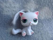 Littlest Pet Shop #148 white cat green eyes real hair