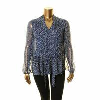 LAUREN RALPH LAUREN NEW Women's Tie Neck Georgette Sheer Blouse Shirt Top S TEDO