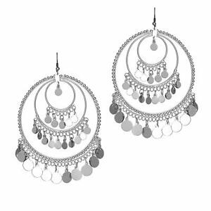 Unique Style Silver Metal Bead Big Round Hoop Earrings for Women & Girls