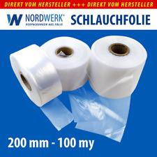 LDPE Schlauchfolie 200mm x 0,1 mm (100 my), 250 m je Rolle transparent 76er Kern