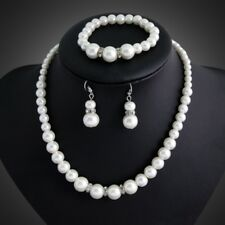 Women Real Natural Freshwater Pearl Necklace Bracelet Earrings Charm Jewelry Set