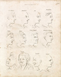 OLD Engraving of Various Emotions (Passions) - Abraham REES 1800s Print #B731