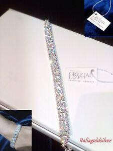 Bracciale Donna SWAROVSKI ORIGINALI Rodiato Argento 925 Cristalli Gioielli Sposa
