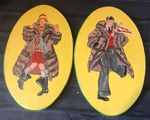 Vintage Flapper Charleston Hand Painted Wood Plaques Humorous Americans 1920s