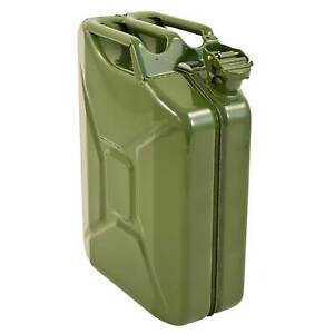 Green Jerry Metal Tin Can 20 L Rust Proof Race/Rally/Camping/Military Oil/Fuel