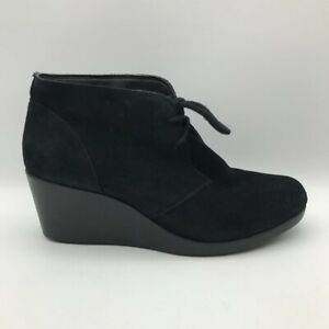 Crocs Womens Leigh Ankle Booties Black Suede Wedge Heel Round Toe Lace Up 8