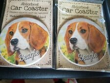 Cute Beagle Dog Absorbent Car Stone Coaster for Cup Holders. Set of 2 Ne