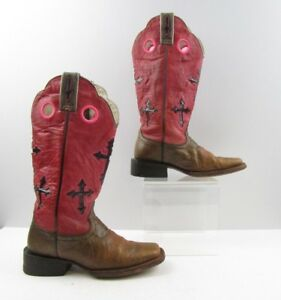 Ladies Ariat Two Tone Pink Brown Leather Cross Western Boots Size: 6 B