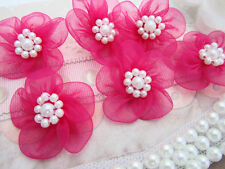 50 Organza Sheer Ribbon Flower Bow/Pearl Bead Trim/craft/Fuchsia F5-Hot Pink