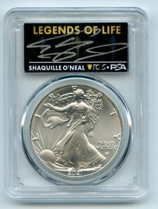 2021 $1 American Silver Eagle Type 2 PCGS PSA MS70 Legends of Life Shaq O'Neal