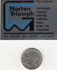 1975-77 Norton Commando 850 Mark III, (1) OEM OIL Recommendations Frame Decal